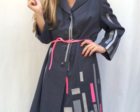 Printed Gray Oversize Woman Jacket LOLA DARLING Coat Colored Glitter Stripe Wearable Art Italian Hand Made from Inventory 60s Vintage