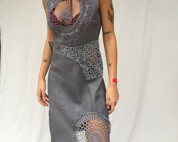 Crochet Hand Made Inserts Sheath Dress LOLADARLING Cocktails Hand Dyed Gray Gradient Effect from Vintage Dress Sustainable Clothing Unique