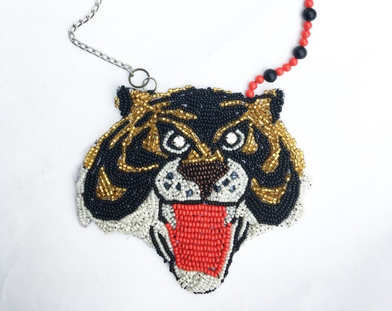 "Statement Embroidered Necklace DAW / LOLA DARLING Hand Embroidery ""Tiger Man"" 80s Cartoons Bijoux Special Edition Made in Italy Single Piece"