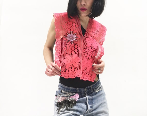 Red Fuchsia Pink Cotton Crochet Shawl LOLADARLING Handmade Hand dyed and Laminate effect Flower Embroidery One-of-a-kind Luxury Upcycled