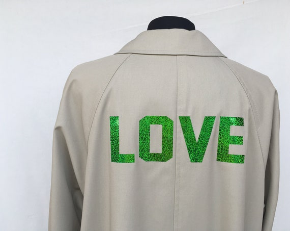 A Style Duster LOLA DARLING Sport Pop Printed Trench Coat LOVE Numbers Stripes Green Reversible Burberry Theme Inner Lining 80s Putty color
