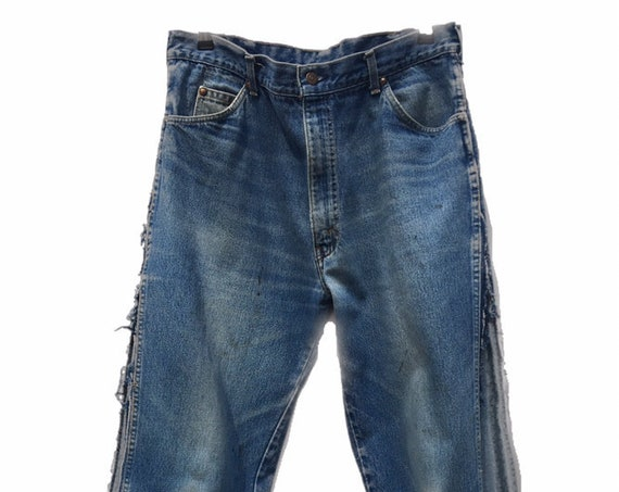 Vintage Levis 557 jeans insert in satin brocade, drawstring on the bottom