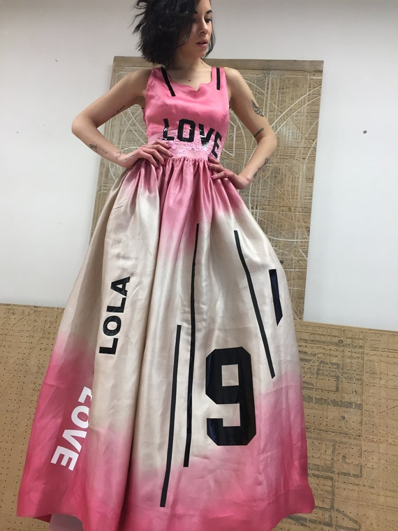 Silk Organza LOLA DARLING Wedding Party Dress with a train. Beige with hand painted Pink Color Love Lola Stripes Print Sartorial Made Italy