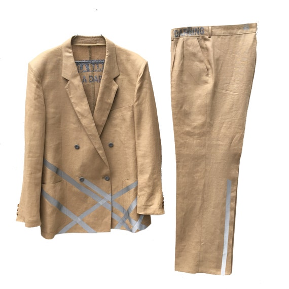Genderless Unisex Suit LOLADARLING Beige Linen Blazer Trouser with Reflective Gray Stripes Printed Sustainable Couture Men's Suite for Woman