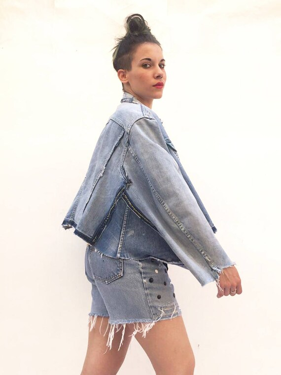 Poncho Zip Jeans Jacket LOLA DARLING Recycled Vintage Levi's Recovered Handmade Tailoring. Zip in Sleeve Unique Denim Piece Made in Italy