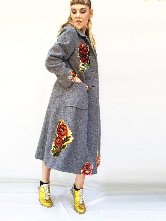 Tapestry Embroidered Wool Gray Long Coat LOLA DARLING Printed Lining Overcoat Sustainable Unique Contemporary Haute Couture Made in Italy