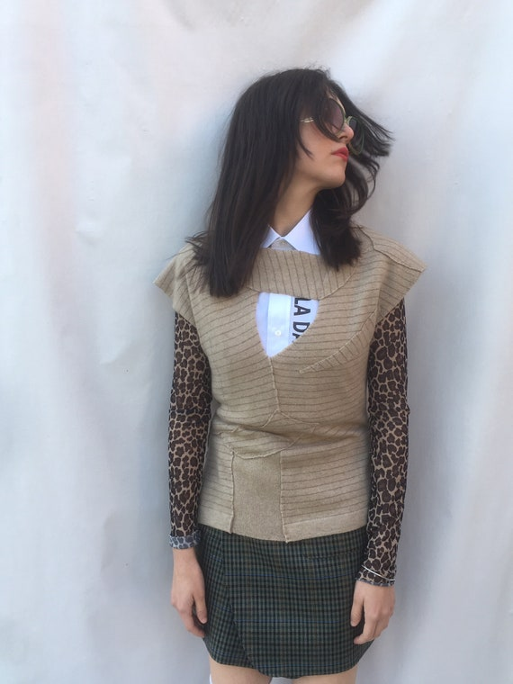 Cachemire Patchwork Beige Recycled  Top Sweater LOLA DARLING