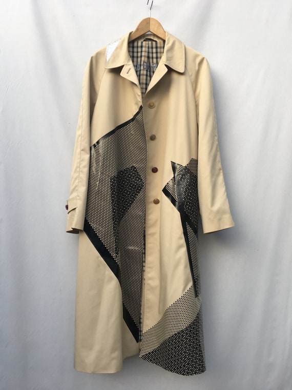 Art Printed Gender Fluid LOLA DARLING Trench Coat Black Design. Reversible Sustainable Couture
