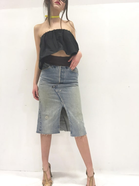 Levi's High Waisted Denim + Leather Jeans Pencil Longuette LOLA DARLING Skirt Leather Waistband Back Pocket Vintage Recycled One-of-a-kind