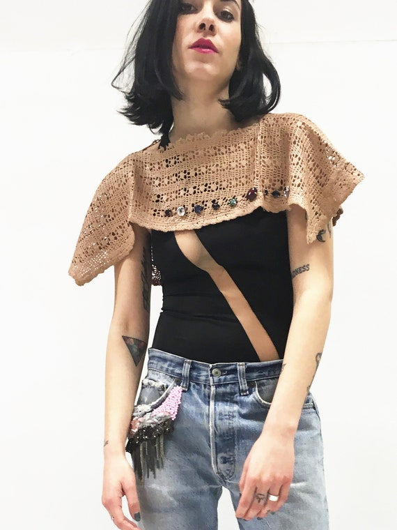 Crochet Shawl Brown LOLA DARLING Vintage Handmade Hand dyed and Leather effect Cabochon Embroidery One-of-a-kind Sustainable Made in Italy