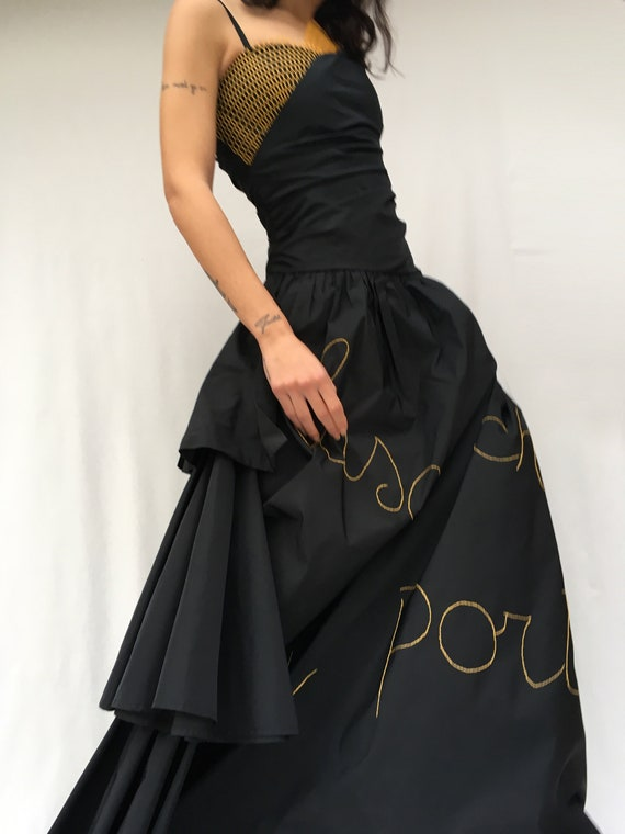 Statement Black Dress LOLA DARLING Italian Lyrics Song Embroidered + Recycled Plastic Net Taffettà Silk Long Dress Sartorial Wedding Party