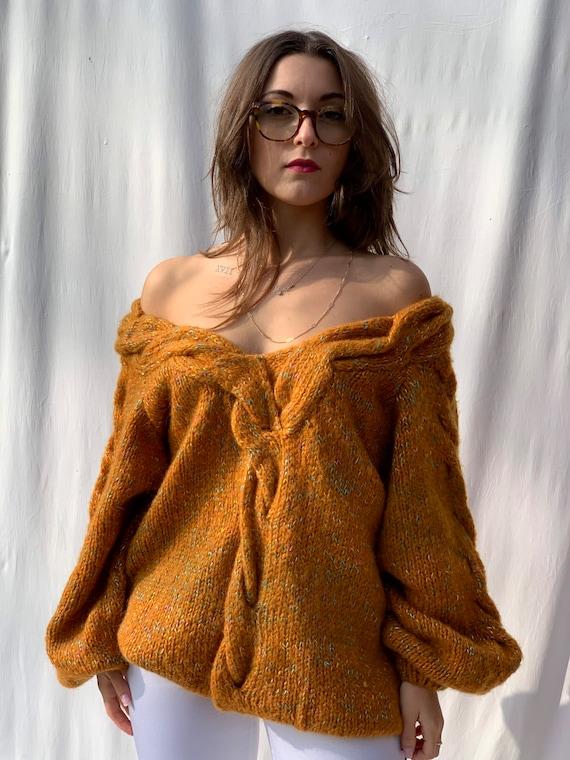 Deep V neck orange wool vintage sweater