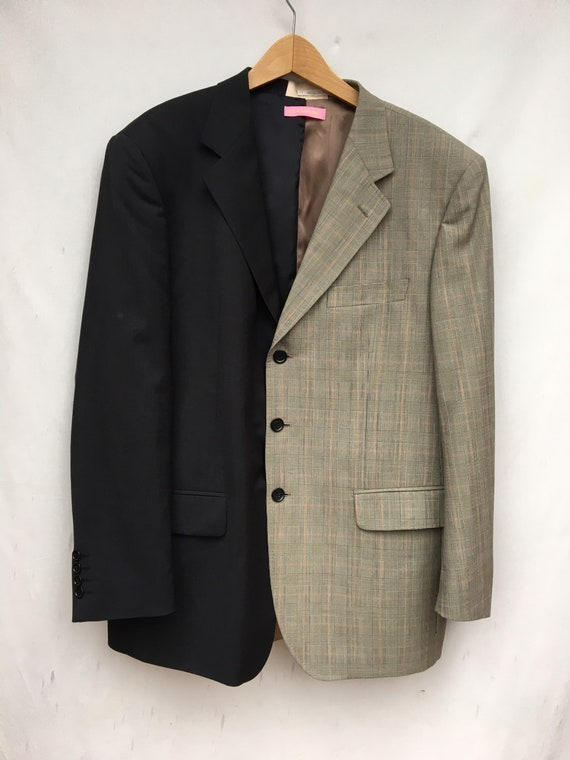 Duo Over Upcycled jacket Blazer Black and Prince of Wales recycled fine wool fabric