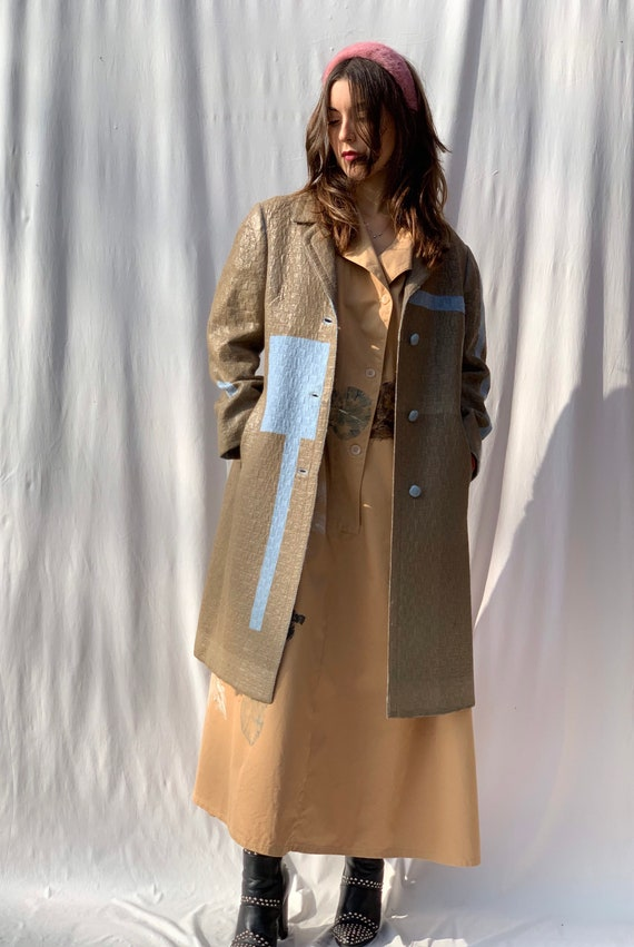 Hazelnut color Hand Painted and Laminated on Light Blue LOLA DARLING Duster Coat
