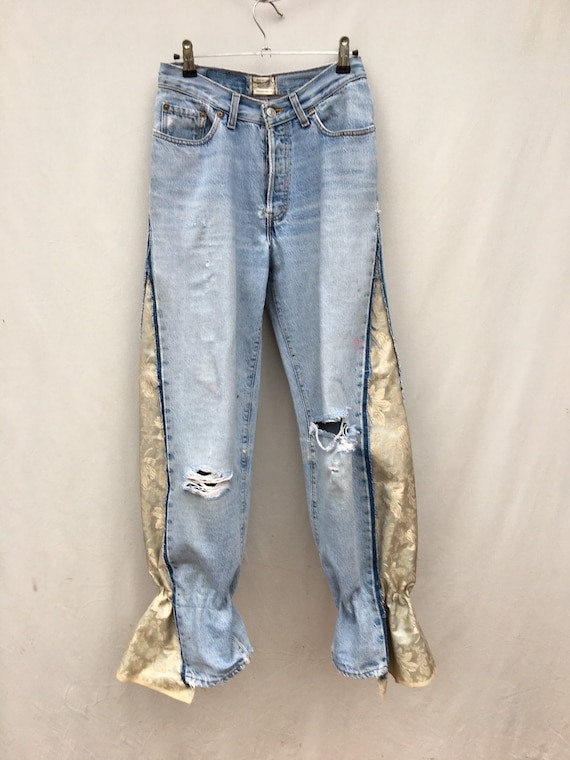 Denim upcycled Vintage Levis jeans, brocade insert, bottom drawstring