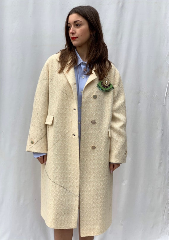 Off white Embroidered LOLA DARLING Coat. Hand-written Inner lining with Giordano Bruno's words