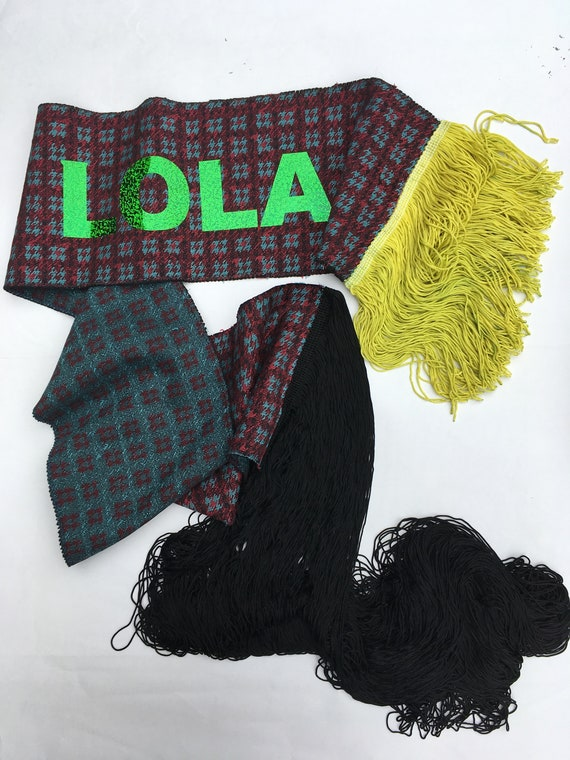 Jacquard Design Wool Scarf with Fringe LOLADARLING Luxury Fine Fabric Recovered Extra Long Black/Short Yellow Fringes LOLA Glitter Printed