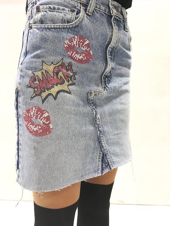 Metal Studs Denim Skirt LOLA DARLING Upcycle Jeans