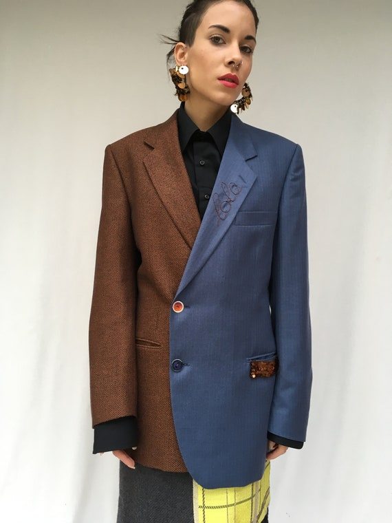 Wool Two Color Jacket LOLA DARLING from Vintage Blazer Brown Blue Fine Fabric Unstructured Embroidered Unique Piece hand made in Italy