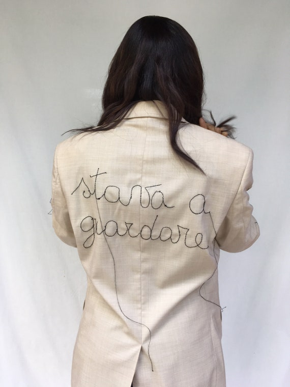 "Hand Embroidered Blazer Jacket LOLADARLING  Italian Lyric Song Embroidered ""SEI BELLISSIMA"" (1975) Italian Couture Extrafine Merinos fabric"