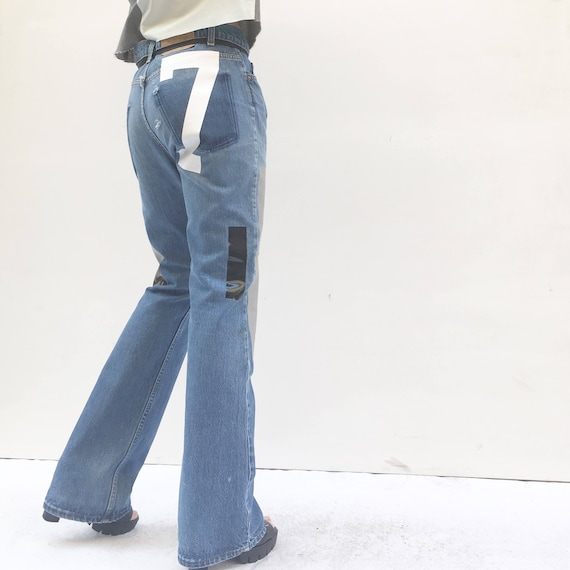 Art Boot-cut jeans High-Waisted LOLA DARLING Original Selected Vintage Levis Recovered Print Denim Zip Regular fit Numbers and Stripes