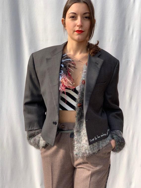"Bolero Blazer Jacket LOLA DARLING ""Sono la tua anima gemella"" Italian Hand Embroidered phrase"