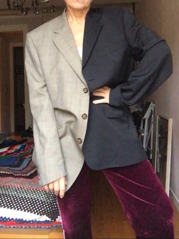 Two colors Upcycled Prince of Wales and Black Blazer