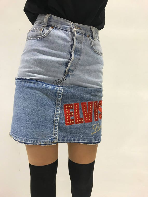 ELVIS Embroidery, LOLA DARLING Denim Mini Skirt. Upcycle Couture