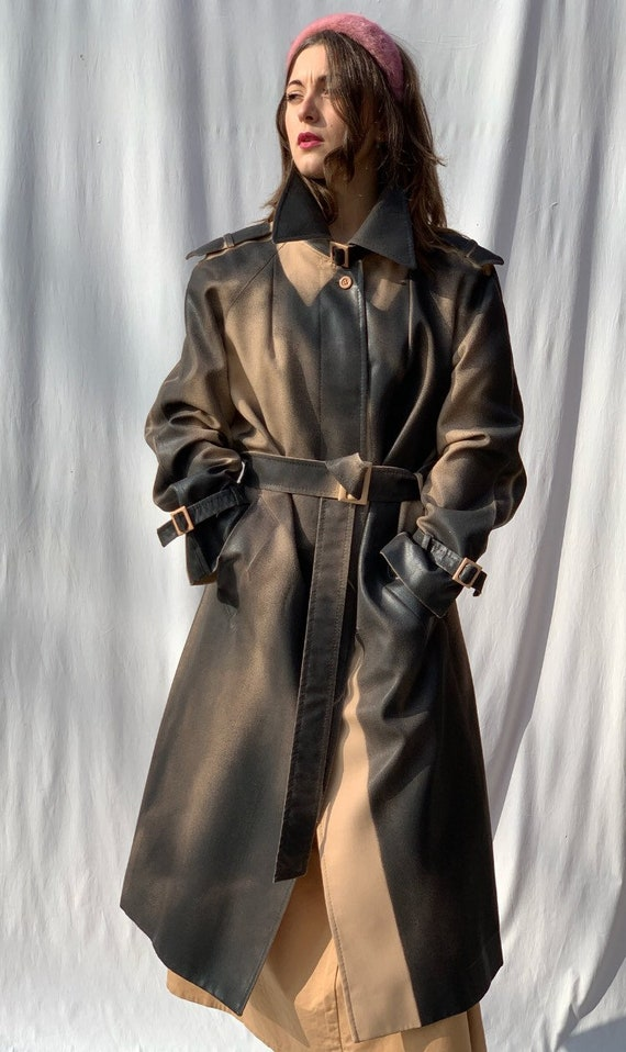 Beige Gradient Black Hand Painted Unisex Trench Coat LOLA DARLING Genderless Sustainable Contemporary Couture