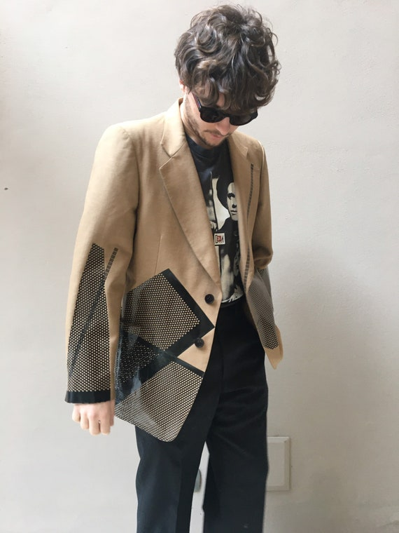 Beige Linen Blazer, black Print with Industrial Waste. wearable art jacket