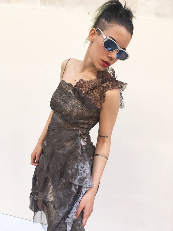 Dark Brown Lace Hand Painted LOLA DARLING Dress Sustainable Contemporary Remake Vintage Handmade in Italy Limited Edition