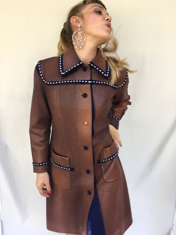 Knitted Hand Painted Coat LOLA DARLING Brown Red Long Jacket White Stitching details Rubber Laminated Effect Overcoat Sustainable Clothing