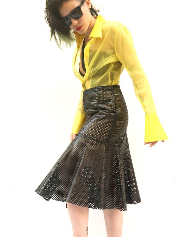 Black Grid Lasered Leather LOLA DARLING Skirt Longuette with Ruffle with Slit Hand made in Italy Unique