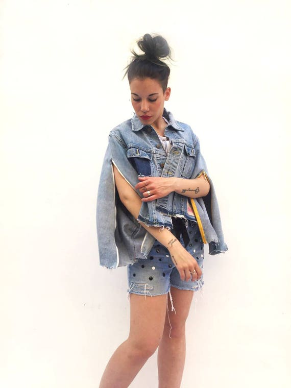 Poncho Denim Jacket LOLA DARLING  Recycled Vintage Levi's Jeans Recovered Handmade Tailoring, Unique piece Made in Italy