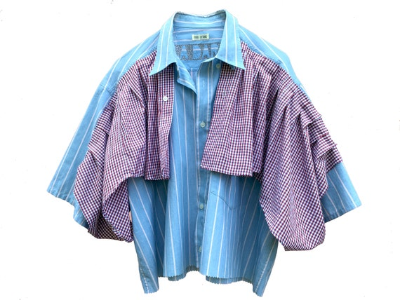 Cotton Shirt with Frappa LOLA DARLING Blue Striped Short Sleeve Blouse with Red Checked Flounce from Vintage Italian Contemporary Couture