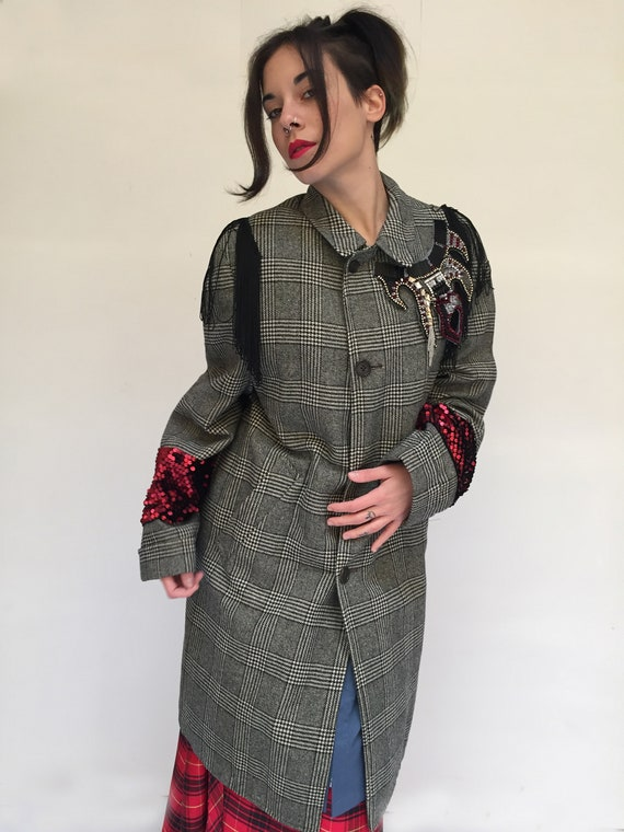 Upcycled Prince of Wales LOLA DARLING Coat Red Sequin and Black Fringe jacket