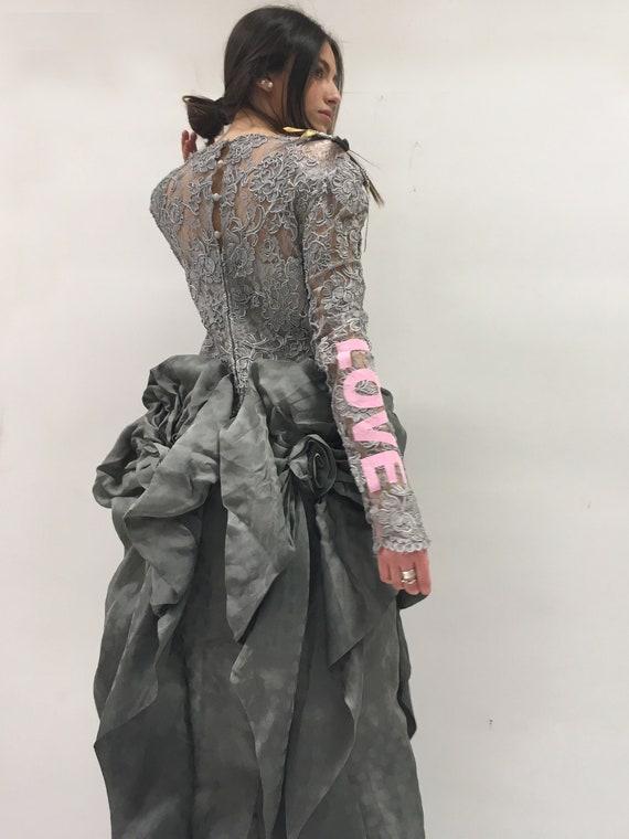 Statement Macramé Gray Silk Organza Long Dress LOLA DARLING Lace Sequins Polka Dots LOVE Pink Print Dragonfly Brooch Unique Wedding Bridal
