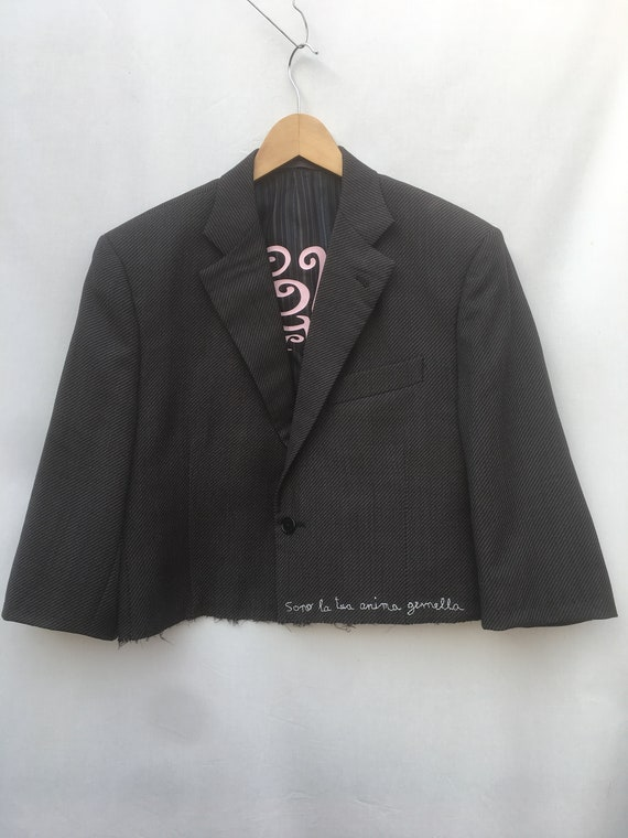 "Cropped oversize Bolero Blazer Jacket LOLA DARLING ""Sono la tua anima gemella"" Embroidered"