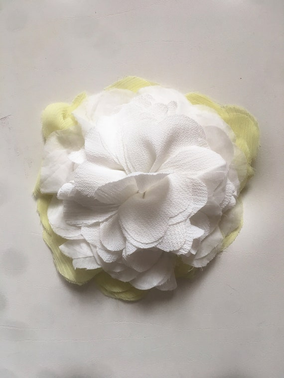 Yellow White Rose Brooch Pin, Recycled Fabric Flower Brooch, DAW Bijoux for LOLA DARLING. Italian Handmade Crafts