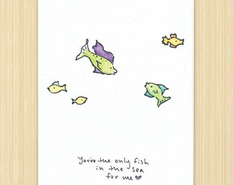 FISH I Fishing Love You Happy Valentines Day Greeting Card. Fish