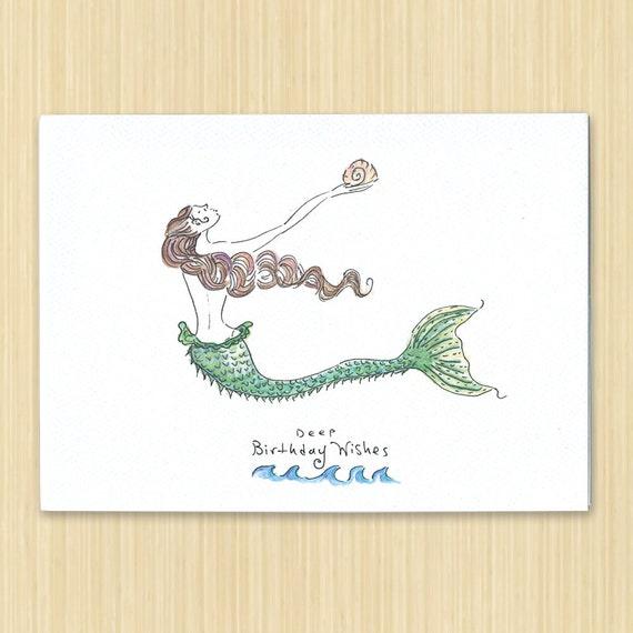 Mermaid Birthday Card Birthday Card Hand Drawn Birthday Etsy