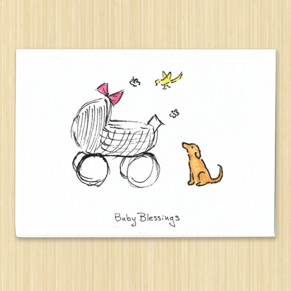 Baby Blessings Hand Drawn Greeting Card New Baby Card Etsy