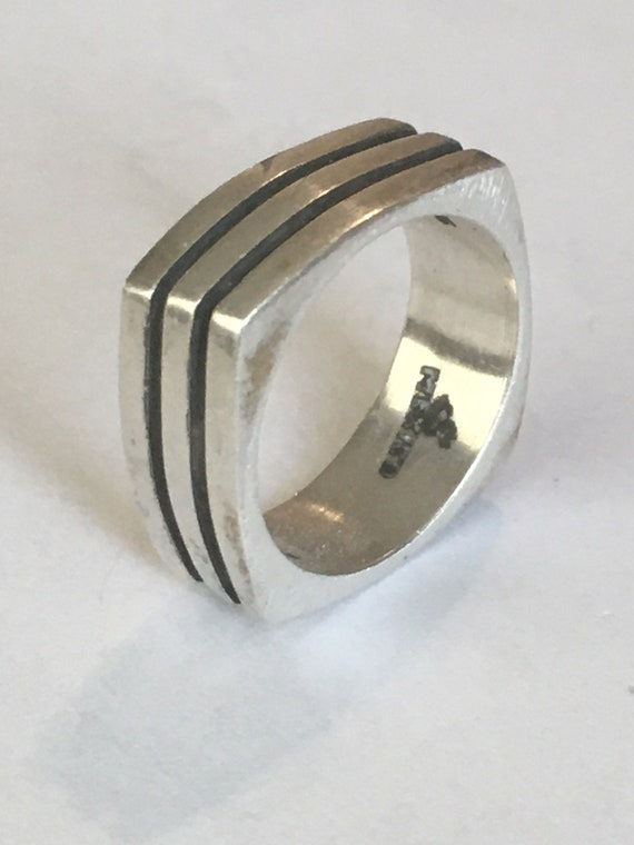 sterling silver handmade ring solid silver heavy stamped 925 Mexico Vintage 010038 Mexico 925 silver men/'s band Size 6