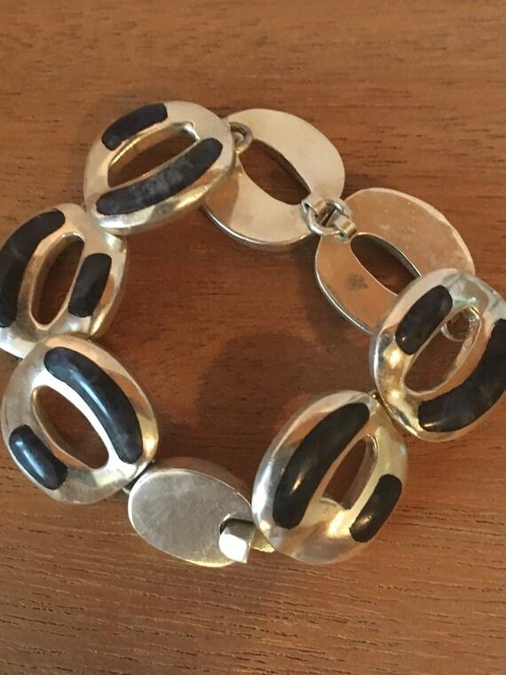 Blue STERLING SILVER SODALITE Mexico Heavy Taxco 53.6 Grams Bracelet Large 34 Wide 7 Long