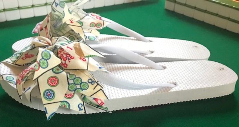 45185a831c412 Mahjong Mahjongg flip flops adult sizes   Etsy