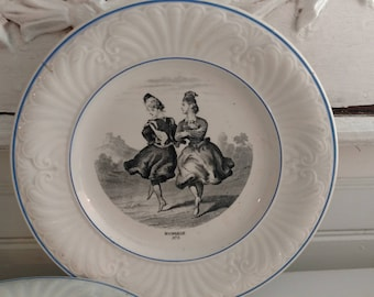 Four Antique French Creil et Montereau B & C Depose Plates with Dancing Ladies