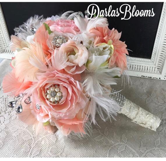 Hochzeit Blumenstrauss Brautstrauss Brosche Bouquet Pfirsich Etsy