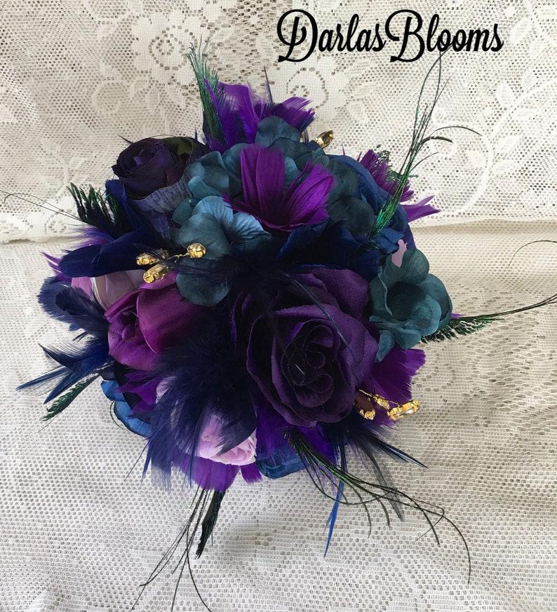 Peacock wedding bouquet,Purple bridal bouquet,Peacock Wedding,Feather bouquet,Teal bouquet,Alternative bouquet,Silk flower bouquet