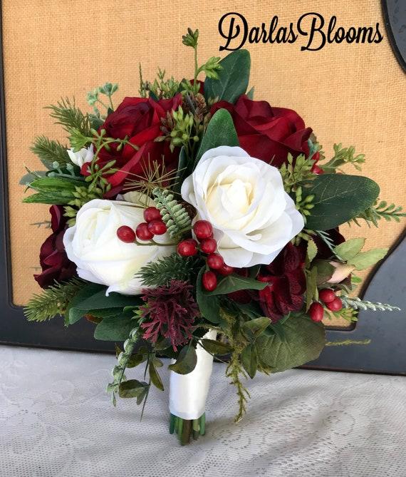 Burgundy Bridal Bouquetwedding Bouquetwinter Bouquetbridal Etsy