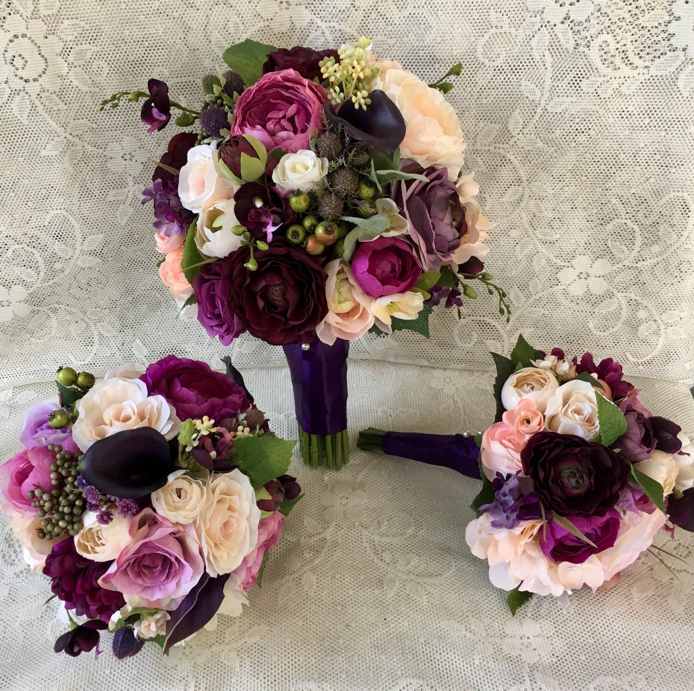 Wedding Purple Flowers: Wedding Bouquetplum Purple Bridal Bouquetsilk Wedding